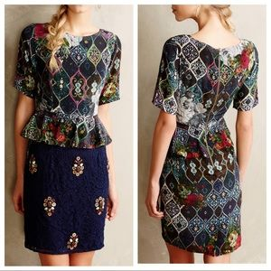 HEMANT & NANDITA Narcis Embellished Peplum Dress